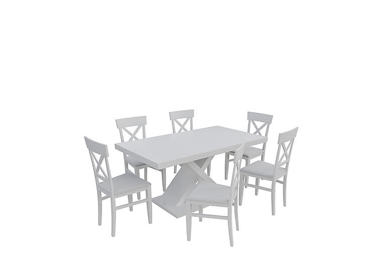 Spisegruppe Kadja - Hvit - Møbler - Spisegrupper - Rektangulær spisegruppe