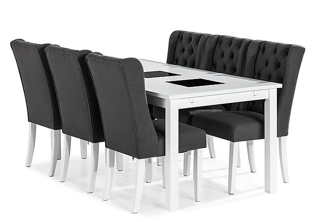 Spisegruppe Octavia 180 cm med 6 Isolde Stol - Vintage Alm Hvit Grå - Møbler - Spisegrupper - Rektangulær spisegruppe