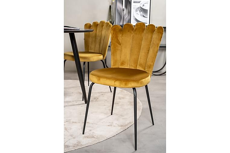 Spisegruppe Trym 100 cm Rund med 4 Limhamn Spisestoler Gul - Furniture Fashion - Møbler - Spisegrupper - Rektangulær spisegruppe