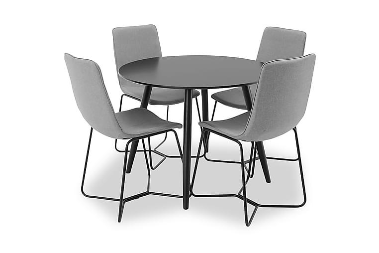 Spisegruppe Trym 100 cm Rund med 4 Theresa Stoler - Svart|Grå - Møbler - Spisegrupper - Rektangulær spisegruppe