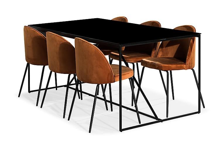 Treni Spisegruppe med 6 Gerardo Stoler Fløyel - Glass Metall Oransje Svart - Møbler - Spisegrupper - Rektangulær spisegruppe