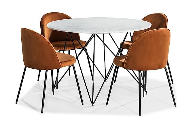 Spisegruppe Aten 110 Rund Marmor med 4 Gerardo Stol Fløyel - Hvit|Oransje|Svart - Møbler - Spisegrupper - Rund spisegruppe