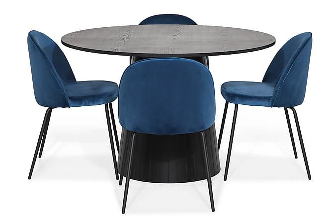 Spisegruppe Dunja 120 med 4 Stoler Gerardo Fløyel - Eik|Mørkeblå|Svarte Ben - Møbler - Spisegrupper - Rund spisegruppe