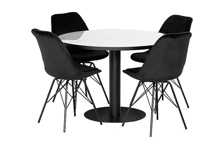 Spisegruppe Nickie Rund inkl. 4 Scale stoler - Fløyel/Hvit/Svart - Møbler - Spisegrupper - Rund spisegruppe