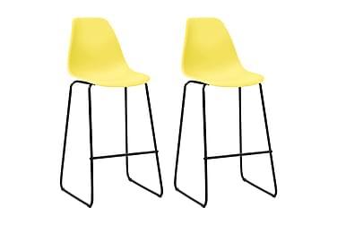 VidaXL Barstoler 2 stk gul plast