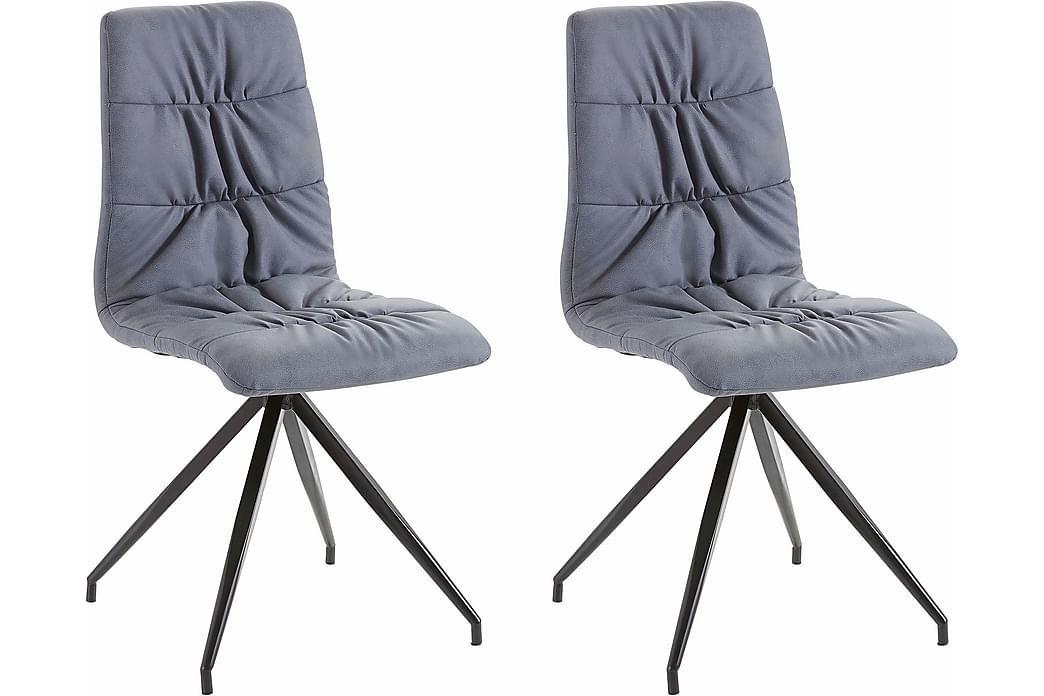 Kjøkkenstol Claudia Kunstlær 2-pk - Blå|Metall - Møbler - Stoler - Spisestuestoler & kjøkkenstoler